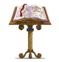 Ancient book of spells with symbols on stand vector