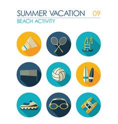 Beach activity flat icon set summer vacation vector
