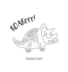 Black and white line art with dinosaur skeleton vector