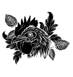 black silhouette rooster head realistic vector image