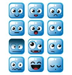 Blue squares emoticon vector