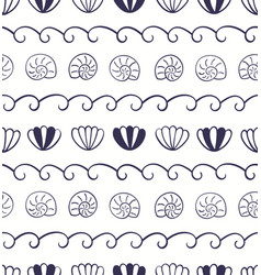 Blue waves seashells nautical seamless pattern vector