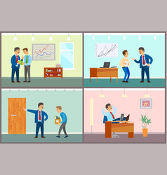 boss talking to personnel staff fired worker vector image