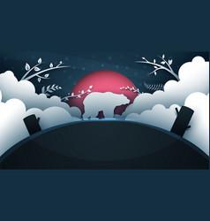 cartoon bear paper landscape vector image