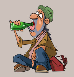 cartoon homeless man drinks sitting on the ground vector image