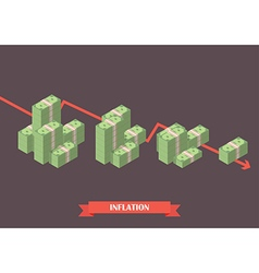 Cash money inflation concept vector