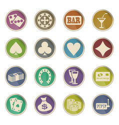 Casino icon set vector