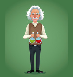 Character scientist physical with test tube vector
