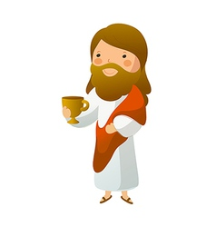 Close-up of Jesus Christ holding cup vector