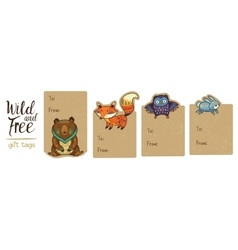 Collection of woodland gift tags vector