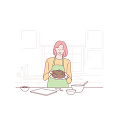 Cooking housewife proposal advertising concept vector