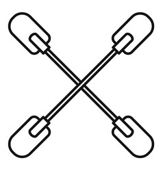 Cross paddle icon outline style vector
