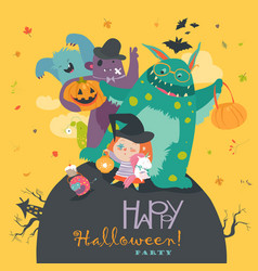 cute girl with funny monsters halloween party vector image