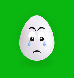 cute sad egg character with green background vector image