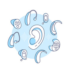 Deafness conceptdifferent types of hearing aids vector