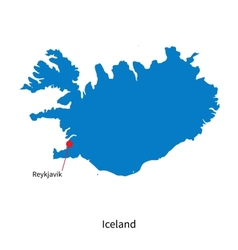 Detailed map of iceland and capital city reykjavik vector