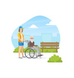 Female volunteer helping to disabled elderly man vector