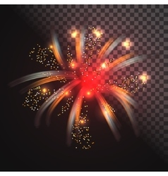 Festive red firework with glowing sparkles vector image