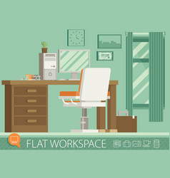 Flat design of modern office interior vector