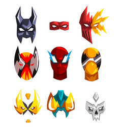 Flat set of superheroes masks clothing vector