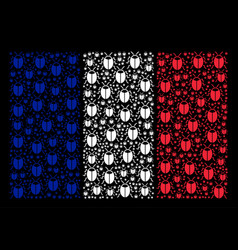 French flag pattern of bug icons vector