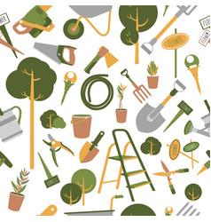 Garden tools seamless pattern vector