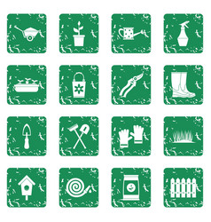 Gardening icons set grunge vector