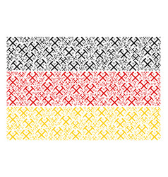 German flag collage of mining hammers icons vector