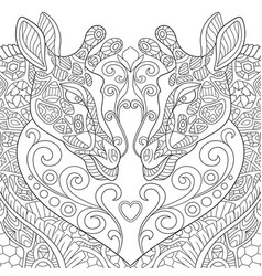 giraffes in love coloring page vector image
