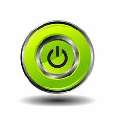 Green round button shut down icon vector