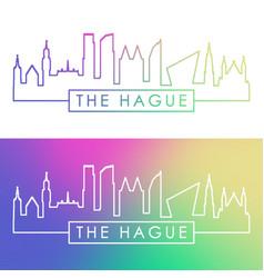 hague city skyline colorful linear style vector image
