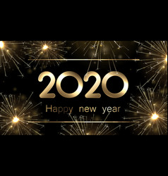 Happy new year 2020 banner with golden sparkling vector