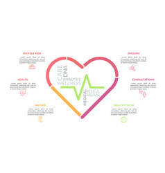 heart symbol consisted multicolored lines and vector image
