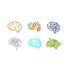 Human brain set thinking or mind bright sign vector