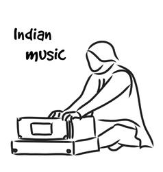 Indian musician playing harmonium vector
