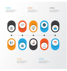 Job flat icons set collection of pen presenting vector