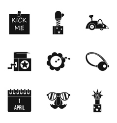 Joke icons set simple style vector
