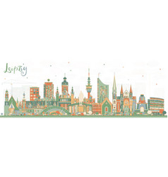 Leipzig germany city skyline with color buildings vector