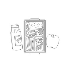 lunchbox with school or work lunch in sketch style vector image