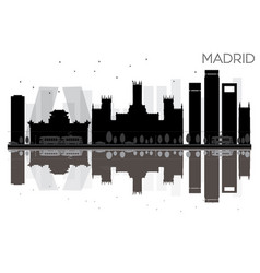 Madrid city skyline black and white silhouette vector