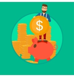 Man putting coin in piggy bank vector