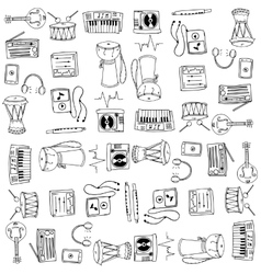 Many tool music set doodles vector