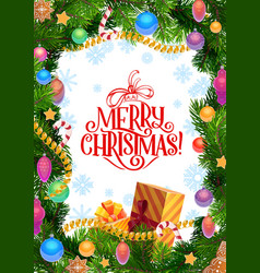merry christmas greeting pine tree decorations vector image