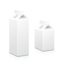 Milk and juice white carton boxes packages with vector image