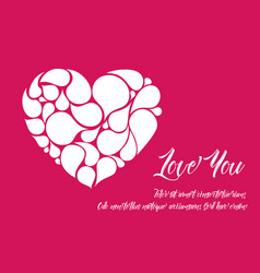 minimalistic valentine card template with white vector image