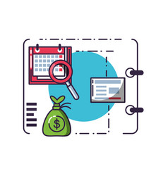 money bag with document and set icons vector image