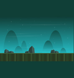 Montain at night style game background vector