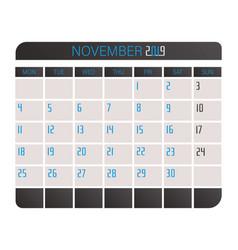 november 2017 calendar vector image