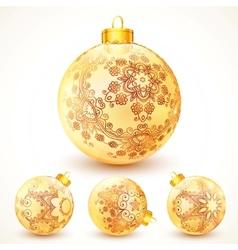 Ornate vintage golden Christmas balls set vector image