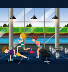 people exercise in the gym vector image